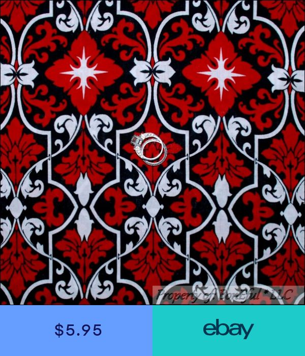 BonEful Fabric FQ Cotton Quilt Black White B/&W Red Flower Stripe L Damask Scroll
