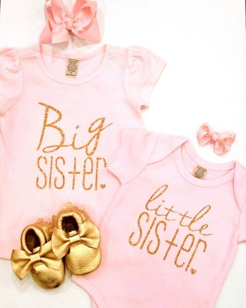 Big Sister Tee - Gold Glitter