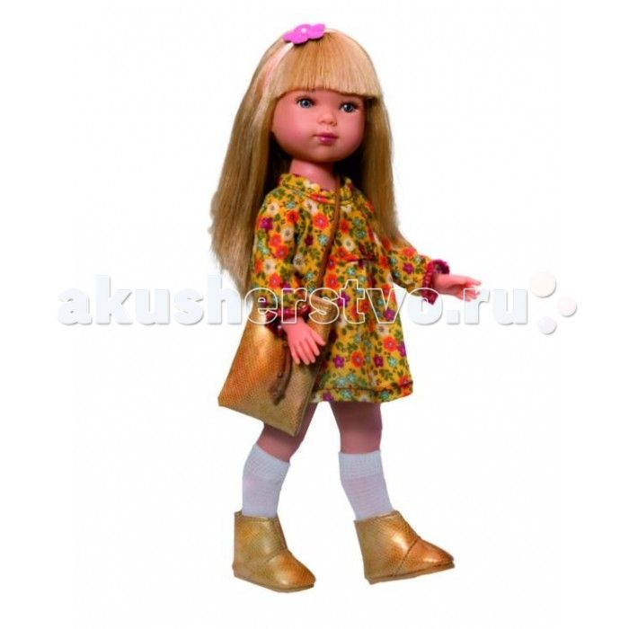 Vestida de Azul Карлотта блондинка с челкой Весна Гламур  Vestida de Azul Карлотта блондинка с челкой Весна Гламур поразит своим гламурным весеннем образом и невероятно реалистичной внешностью.  Особенности: Симпатичная блондинка Карлотта в весеннем гламурном образе: свободное платье с цветочным принтом, золотистые сапожки и сумка в тон одежды. Стильный внешний вид куклы поможет сформировать вкус ребенка с самых ранних лет Милое личико куколки никого не оставит равнодушным: пухлые щечки с…