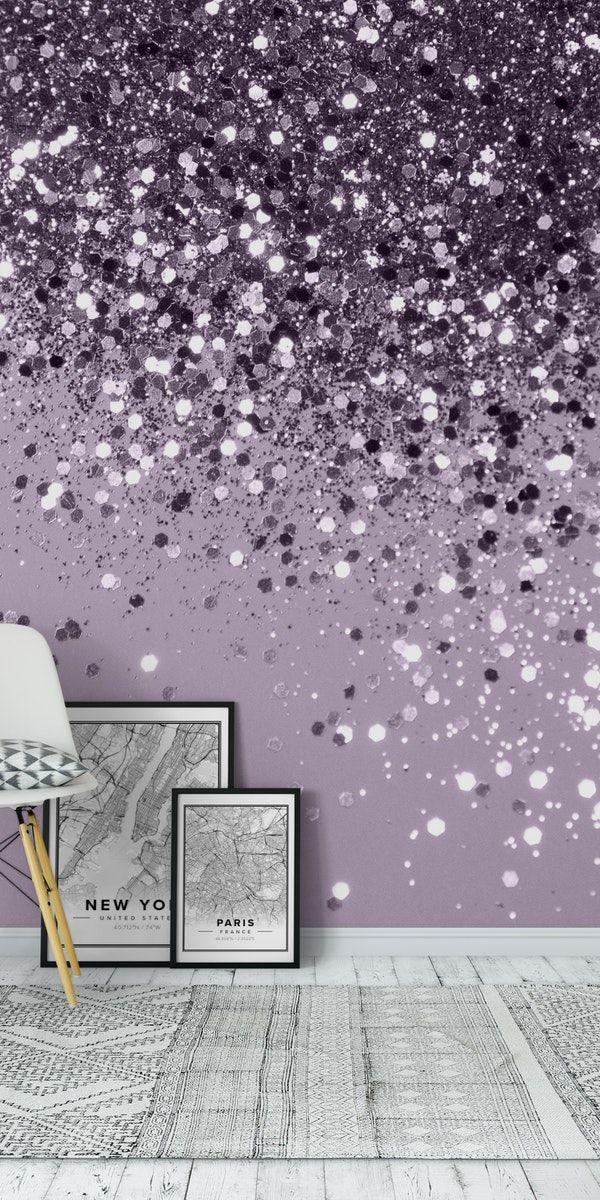 Sparkling Lavender Glitter 2 Wall Mural From Happywall Wallpapers Wallmurals Glitter G Girls Room Wallpaper Glitter Paint Bedroom Glitter Wallpaper Bedroom