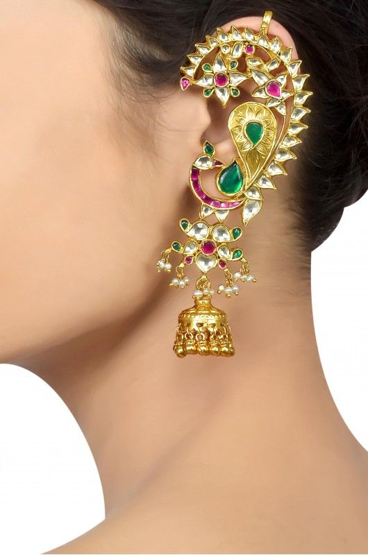 Silver Gold Plated Colored Glass Floral Crystal Mayura Earcuff