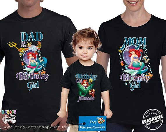 Ariel The Little Mermaid Birthday Shirt Custom Personalized