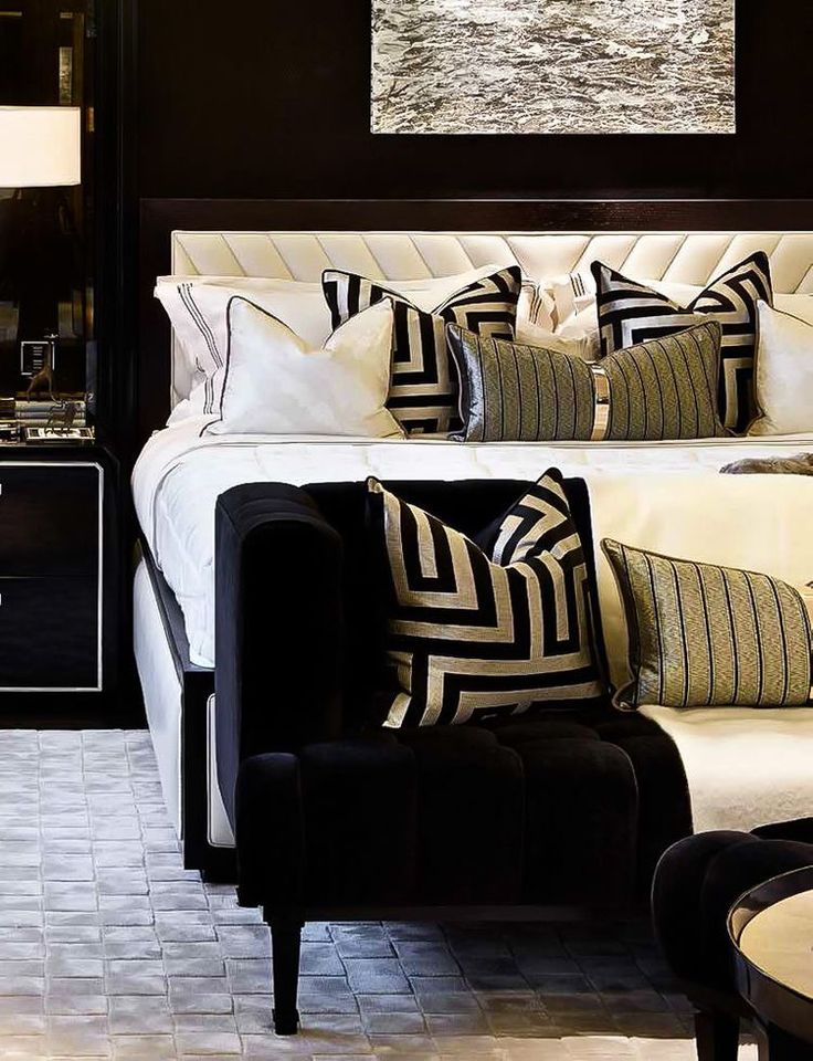 bed black and gold  gold bedroom decor bedroom interior