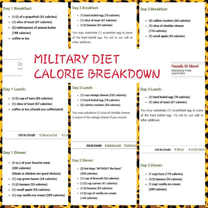 It is a picture of Mesmerizing Military Diet Printable