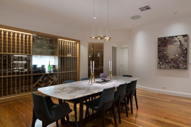 Modern dining room and wine cellar - Sydney Architects Chateau