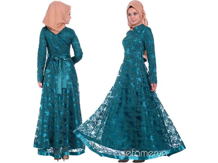 Tesettür Abiye 6858-05 Yeşil #tesetturgiyim #tesettur #sefamerve #hijab