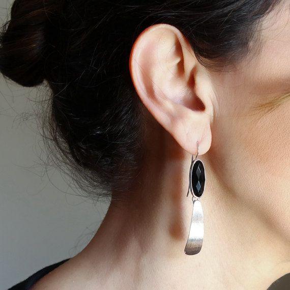 Long black onyx earrings Sterling silver dangle earrings