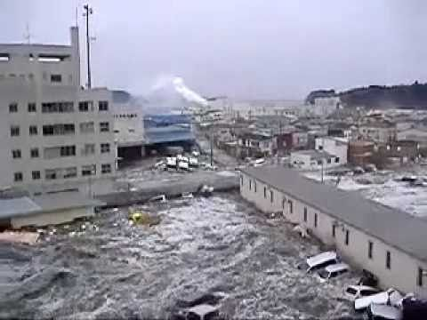 The tsunami in Japan 2011. Notice how high the water is after only 5-6 minutes. Those forces are so scary.