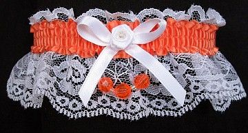 What's on your wish list? A white lace Garter with a CANTALOUPE satin band and matching faceted beads. Garters for Wedding - Bridal - Prom - Fashion. Style # FM-2BN-749 / Visit: www.garters.com/page13b.htm