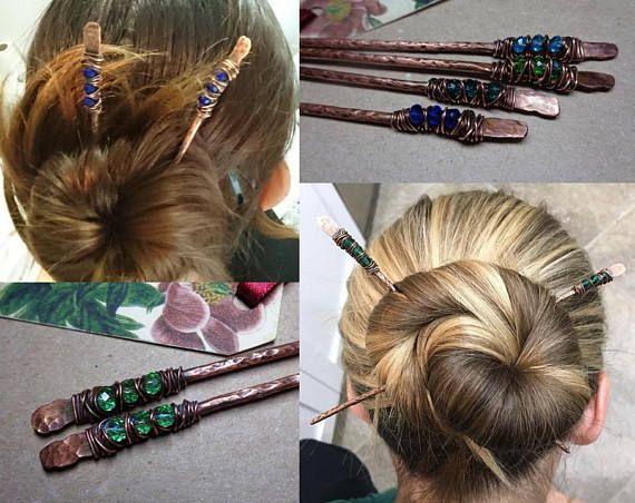 Copper Hair Fork Metal Hair Pin Ruby Red Beads Hair Bun