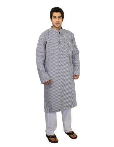 Handgemachtes Kurta Pyjama Set aus Baumwolle mit schwarz weißen Streifen für Herren - Traditionell chinesische Tracht ShalinIndia http://www.amazon.de/dp/B00J4H11LC/ref=cm_sw_r_pi_dp_b4r6vb1H683GW