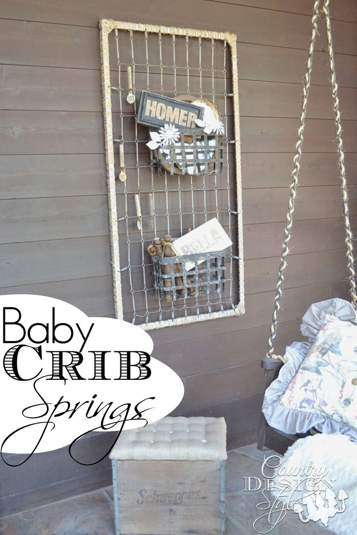 Turning our front porch to rustic farmhouse style with baby crib springs, rustic crate ottoman and rope chains.  Country Design Style