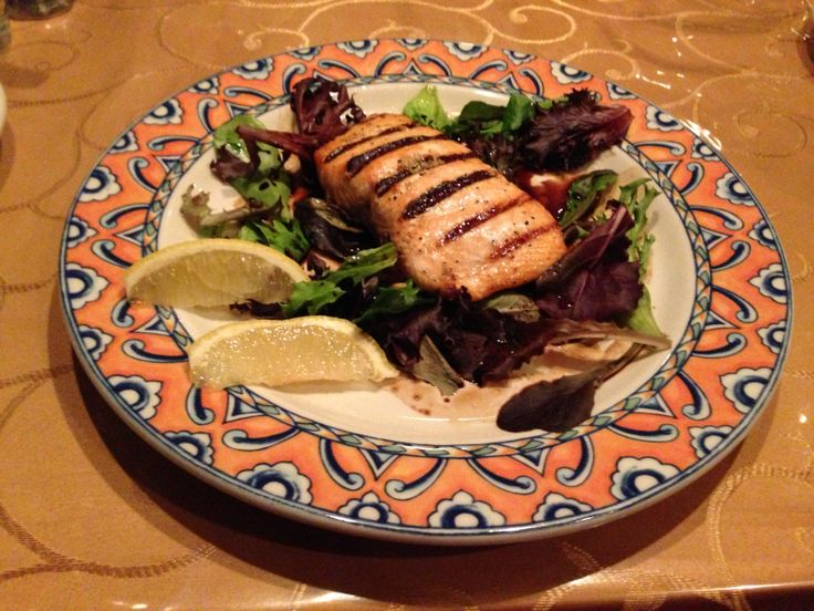 Salmone alla Griglia, Atlantic salmon char-grilled, topped with an olive oil and oregano sauce and served on a bed of spring greens, Napoli Restaurant and Pizzeria, Burlington, WI, 01/07/2014
