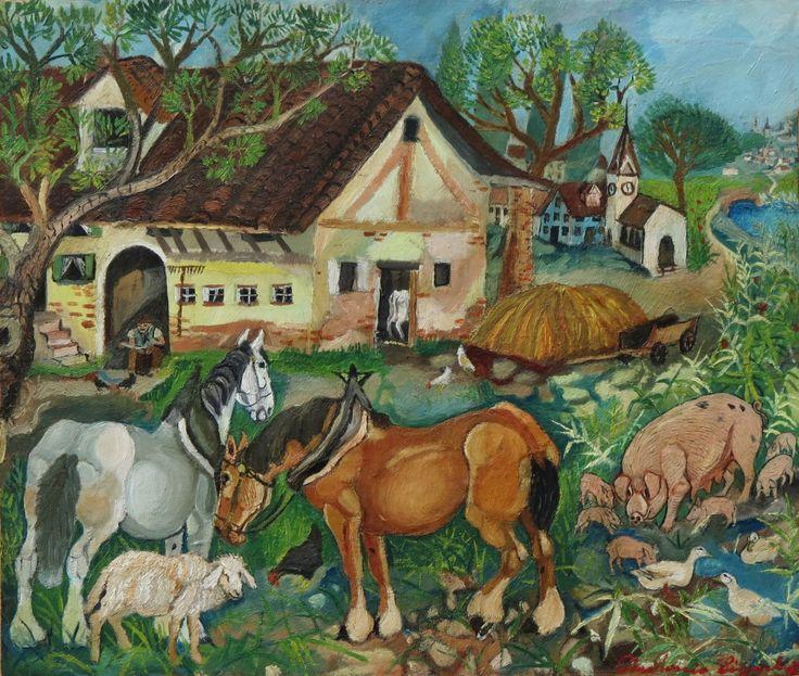«Piatta pianura, umida calura...». #AntonioLigabue, Aia con chiesetta, III periodo, olio su cartone riportato su tela, cm. 42,5x50.