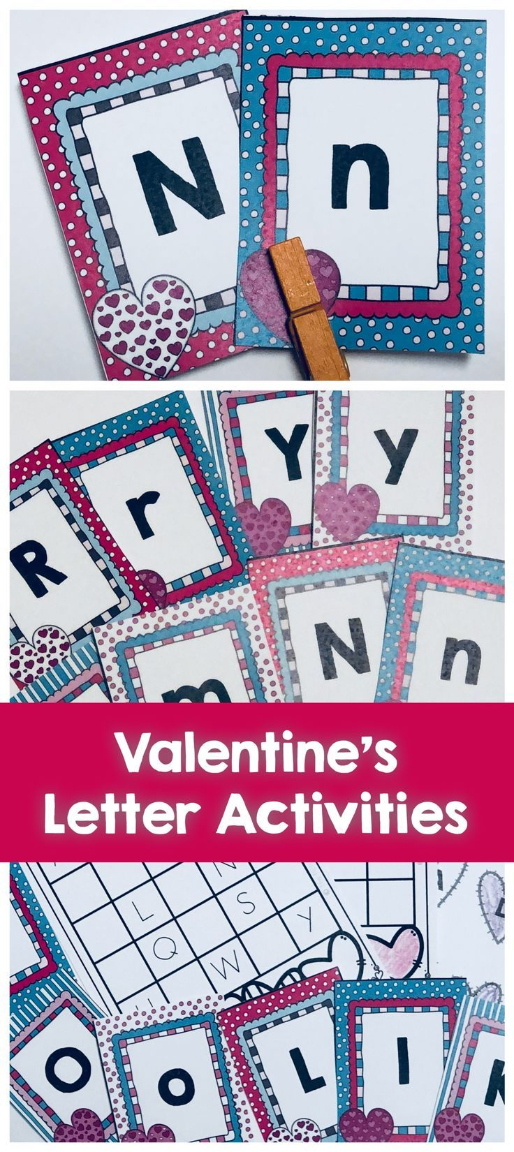 Valentine's Letter matching activities include all letters A-Z upper and lower case and worksheets for writing, tracing and identifying matching letters of the alphabet.