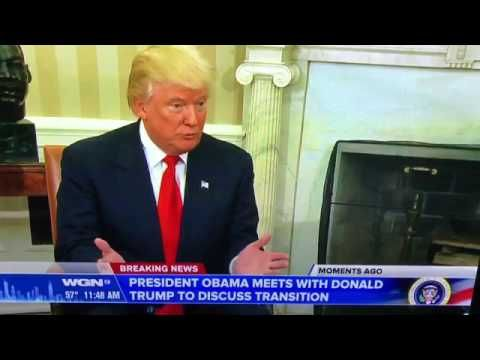 HISTORIC 1ST MEETING BETWEEN PRESIDENT OBAMA & PRESIDENT ELECT TRUMP AT WHITE HOUSE OVAL OFFICE