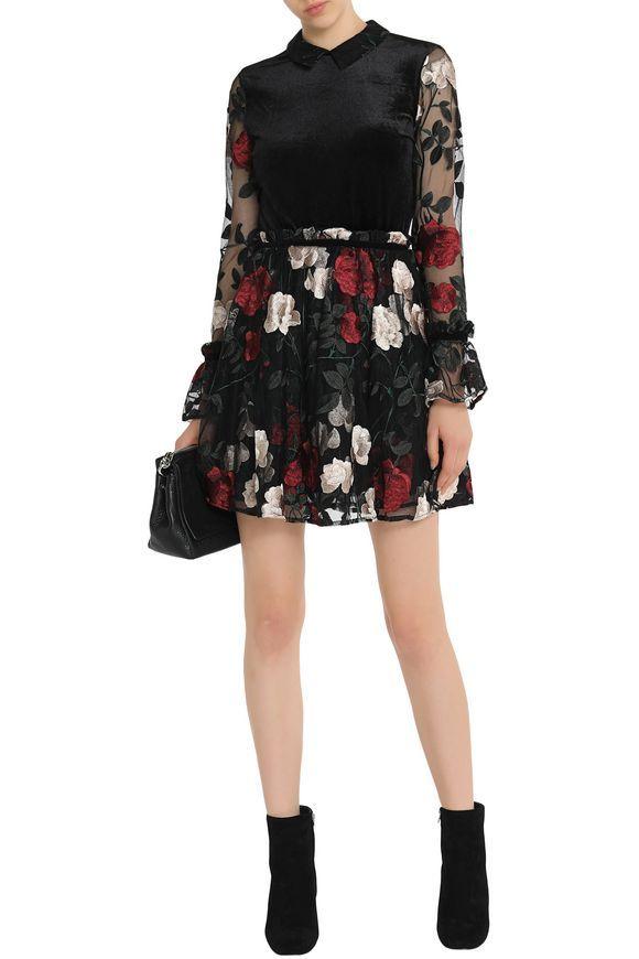 GANNI Velvet-paneled embroidered tulle mini dress