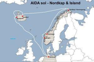 Route der AIDA sol zum Nordkap und nach Island.