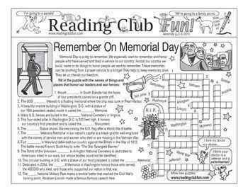 """MEMORIAL DAY - Enjoy a """"Remember On Memorial Day""""-themed Two-Page Activity Set and Word Search Puzzle with this discounted bundle. Includes the following products:               Remember On Memorial Day Two-Page Activity Set               Remember On"""