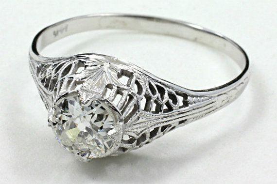 Antique Filigree or blanc 14kt édouardienne & détails de feuille de lierre .59ct Mine ancienne coupe diamant Solitaire bague de fiançailles