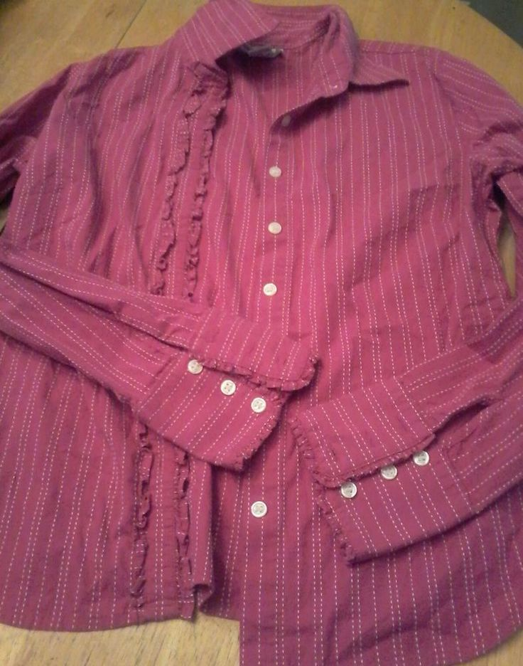 Lilly Pulitzer Pink Striped Ruffled Button-Down Top Shirt Sz 8  #LillyPulitzer #ButtonDownTop