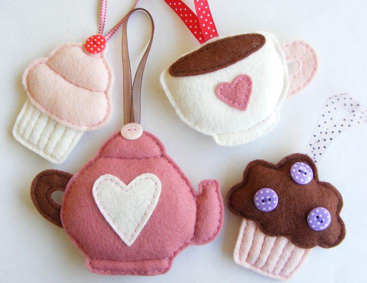 PDF pattern - Set of four felt ornaments - teapot, teacup, muffin and cupcake - DIY felt decorations, pink Christmas tree ornaments. €10,00, via Etsy.