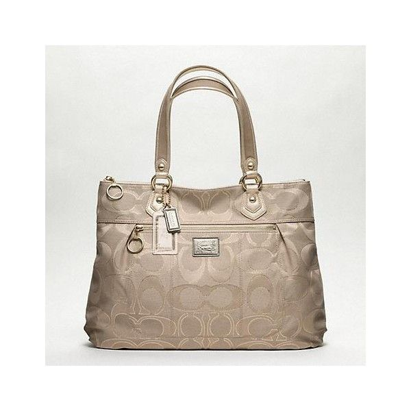 Poppy Metallic Signature Glam Tote ($228) ❤ liked on Polyvore featuring bags, handbags, tote bags, coach, purses, women, brown purse, coach tote bags, brown tote bags and brown tote purse