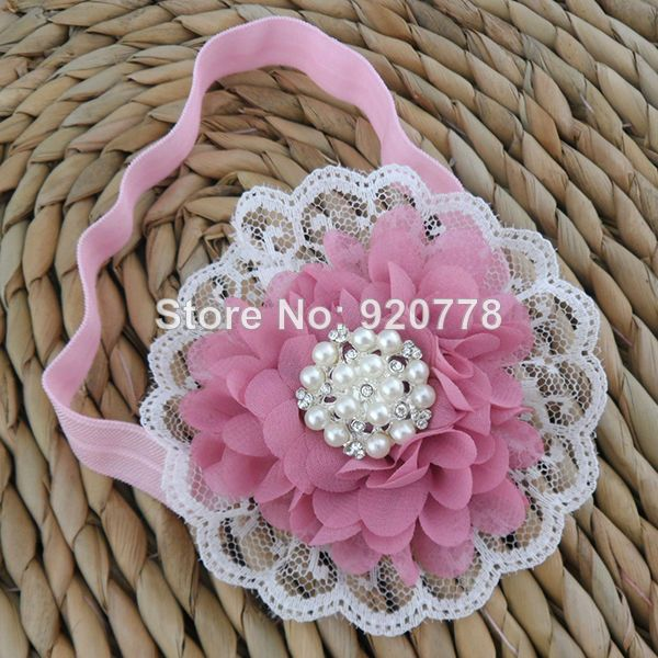 2014 New Boutique Baby girl chiffon flower headband,lace flower Rhinestone pearl center for Infant & kids Hair Accessories 18pcs-in Hair Acc...