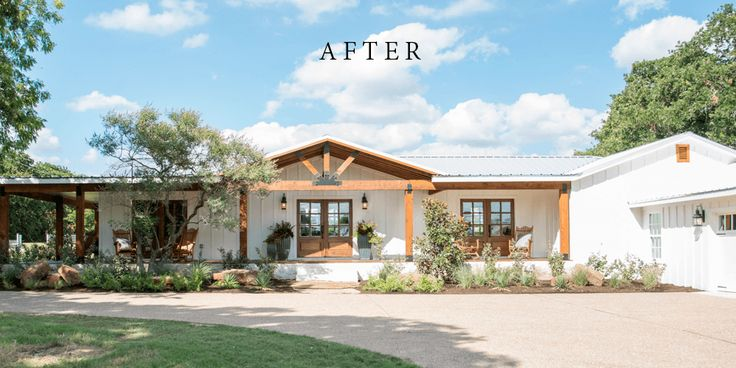 This Fixer Upper had such a sweet couple and Chip and Jo did an incredible  job, especially with the curb appeal! The carriage style garage doors  really pop next to the updated front porch.  All pictures found here on Magnolia Market.  They certainly incorporated warmer elements and colors in this home. The darker rug, furniture and floors contrast the otherwise white and  nuetral walls.  All pictures found here on Magnolia Market.  Of course, you can't go wrong with new white kitchen…
