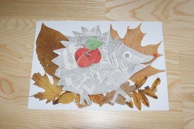 Jeż z gazety- kolaż. Hedgehog with newspaper collage.