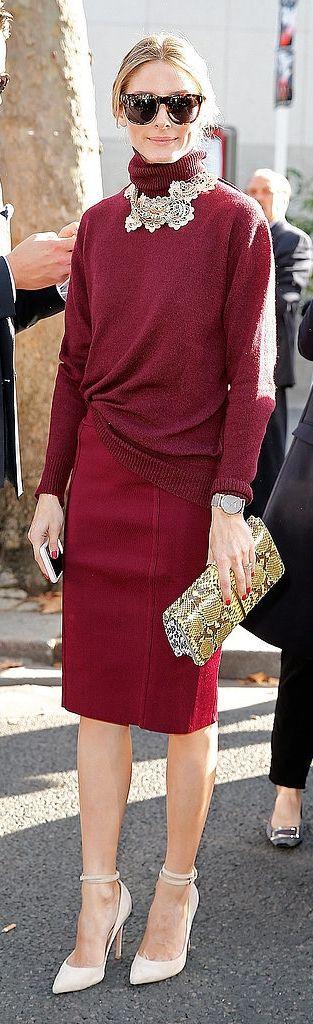 Olivia Palermo in a burgundy turtleneck.