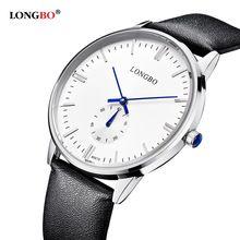 2016 longbo New Masculino Chronograph Function Mens Watches Genuine Leather Luxury Mens Brand Military Wristwatches reloj(China (Mainland))