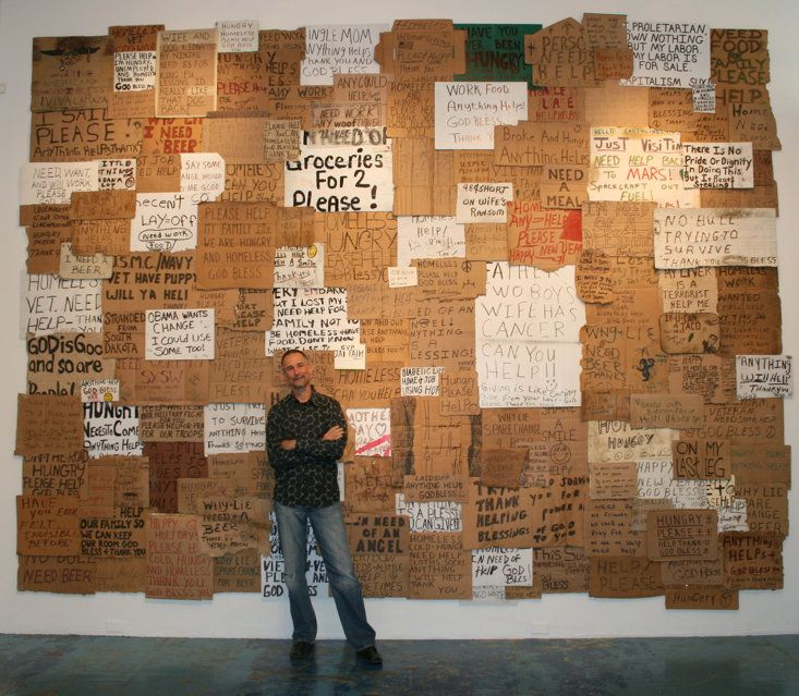 Signs of the homeless. (Photo courtesy of Willie Baronet) - Artist's massive homeless sign collection
