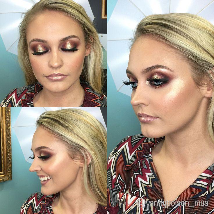 Boudoir makeup by VP Smokey eye, spotlight eye, gold glitter, glowing skin