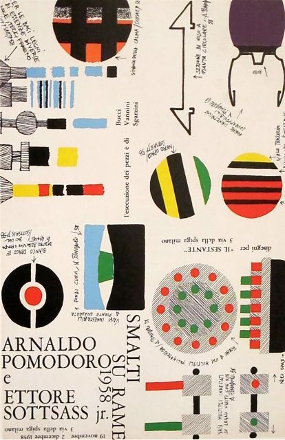 Poster for an Ettore Sottsass show at Galleria Il Sesante, Milano. 1958.