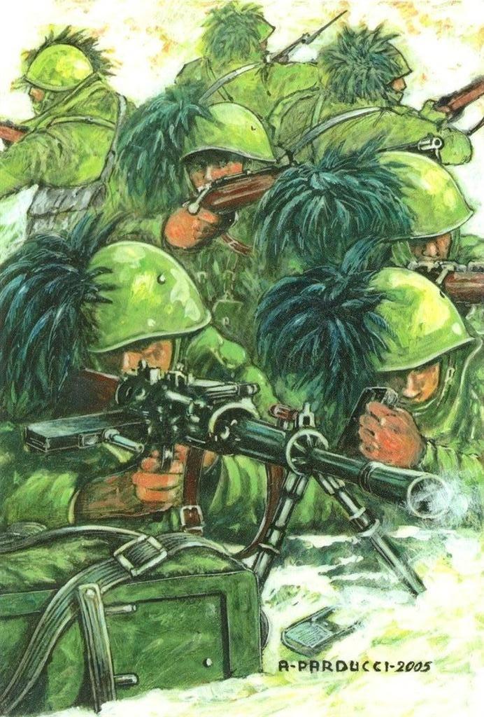 Regio Esercito - Campagna di Grecia – Q.1126 della stretta di Kani Delvinaki  ( 18 – 19 novembre 1940), il Gruppo Bersaglieri del Capitano Antonio Monaco ( 2° Reggimento), sacrificandosi al completo, riesce ad arginare gli assalti greci