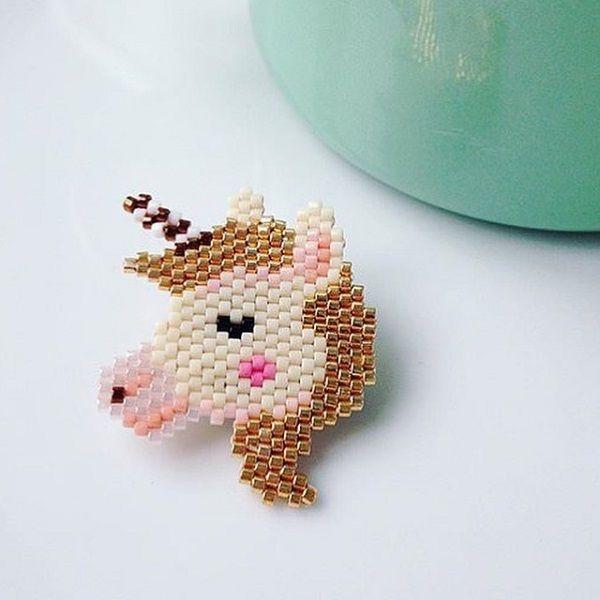 Motif licorne pour tissage brickstitch par Rose Moustache