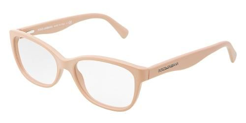 Dolce & Gabbana Eyewear: model 3136 - Women Ophthalmic Collection. Cat-eye Glasses with Matte Pale Peach Frame in Plastic.