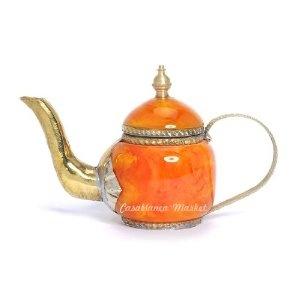 #Mediterranean Decorative Orange Mini Teapot ~ Made in #Morocco #kitchen ~ $18.00