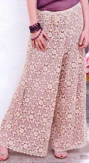 Вязаные брюки-юбка из мотивов