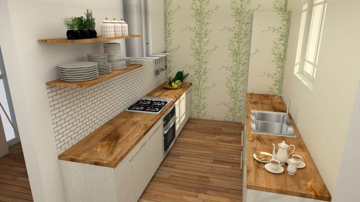 Cocina de un piso de una mujer soltera. El frigorífico está panelado y empapelado por la zona que da al salón para que pase más desapercibido.