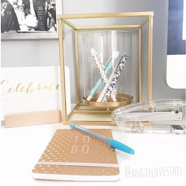 A wonderful gold hack on the outdoor lantern into a desk caddy. THE NEW KMART HACKS: ROUND THREE