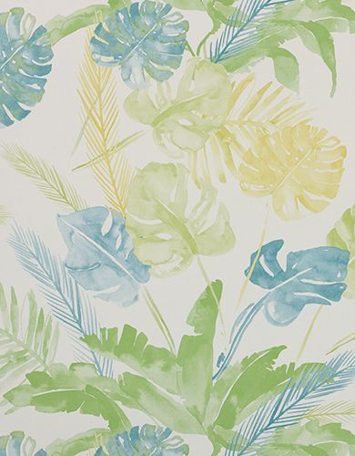 Wallpaper Design 'Jungle' reference 4800023 (10 metres x 53cms) A stunning large scale leaf and fern design on wallpaper, in a soft turquoise, green and yellow colour combination. This wallpaper is washable, with good light resistance and strippable. #Paper Moon #Coordonne #Wallpaper #Lara Costafreda #Floral