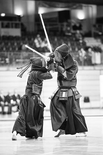 Black & white photo Japanese martial art Kendo