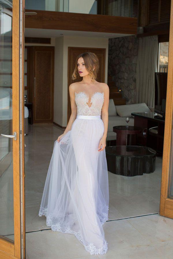 USD$350.89 - White Elegant Sheath Satin Wedding Dresses Deep V Neck See