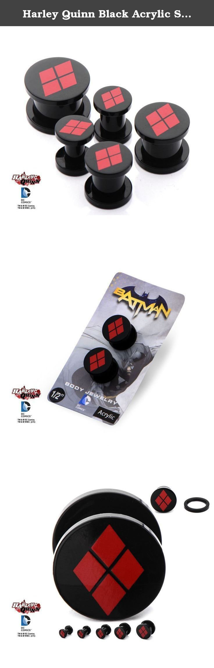 "Harley Quinn Black Acrylic Screw Fit Plugs Choose Size (1/2"" (12mm)). Great for any fan of Harley Quinn or if you want to impress that Mr. J in your life."