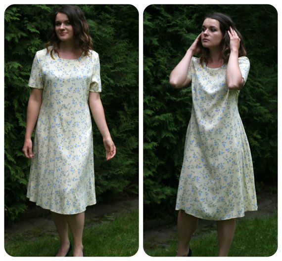 lovely Vintage midi yellow Dress A line with by VintagEraShop