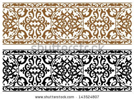 Abstract arabic ornament in two colors for design and ornate. Jpeg version also available in gallery by Seamartini Graphics, via Shuttersto...
