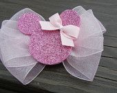 Pink Sheer Disney Minnie Mouse Hair bow/ Hairbow