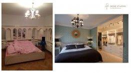 home staging- metamorfozy, sypialnia, glamour, zielona tapeta, garderoba www.hs-wroclaw.pl
